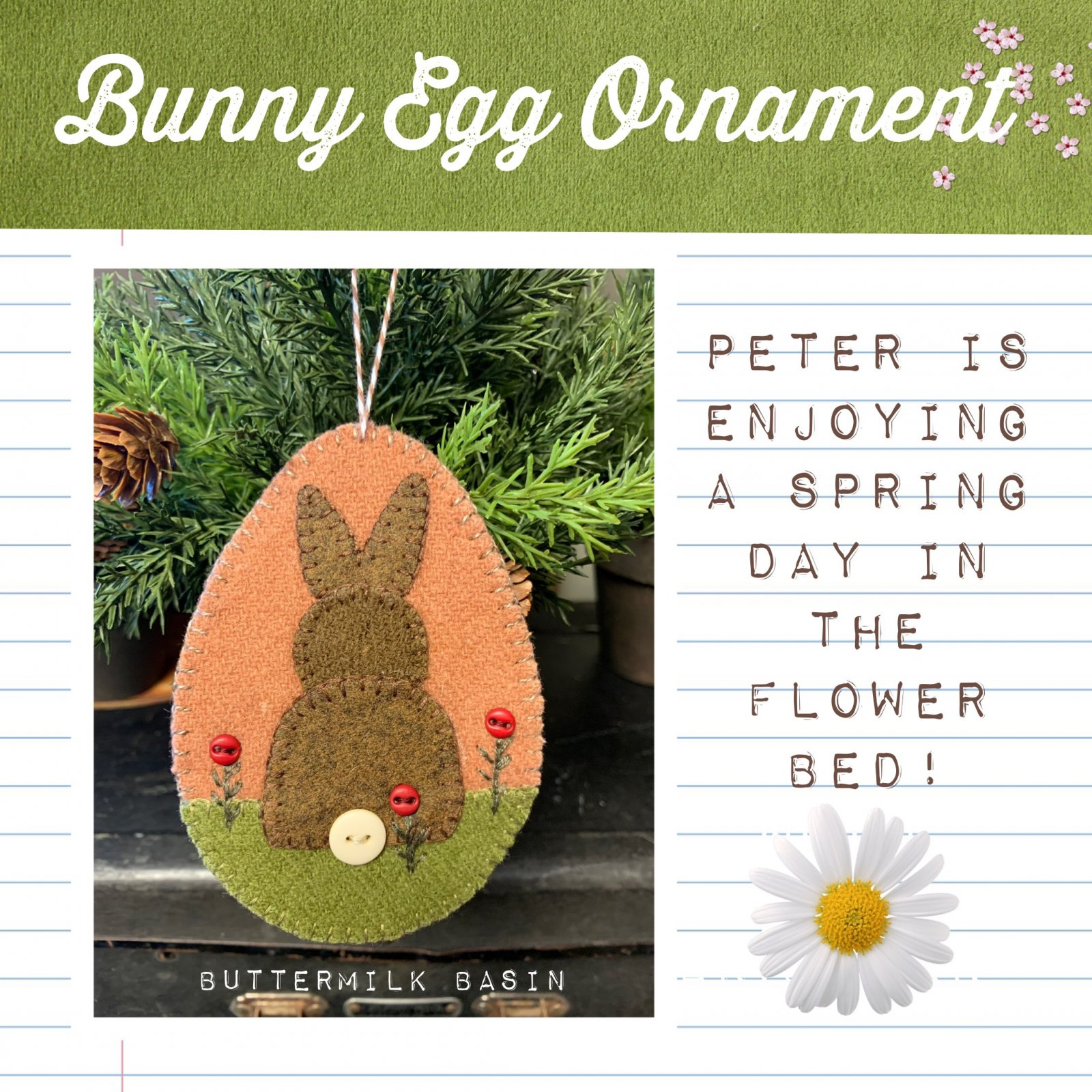 Bunny Egg Ornament * Pattern & Kit
