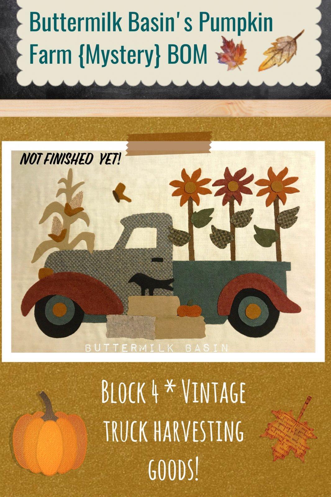 Buttermilk Basin's Pumpkin Farm {Mystery} BOM, Block 4 Kit and Pattern
