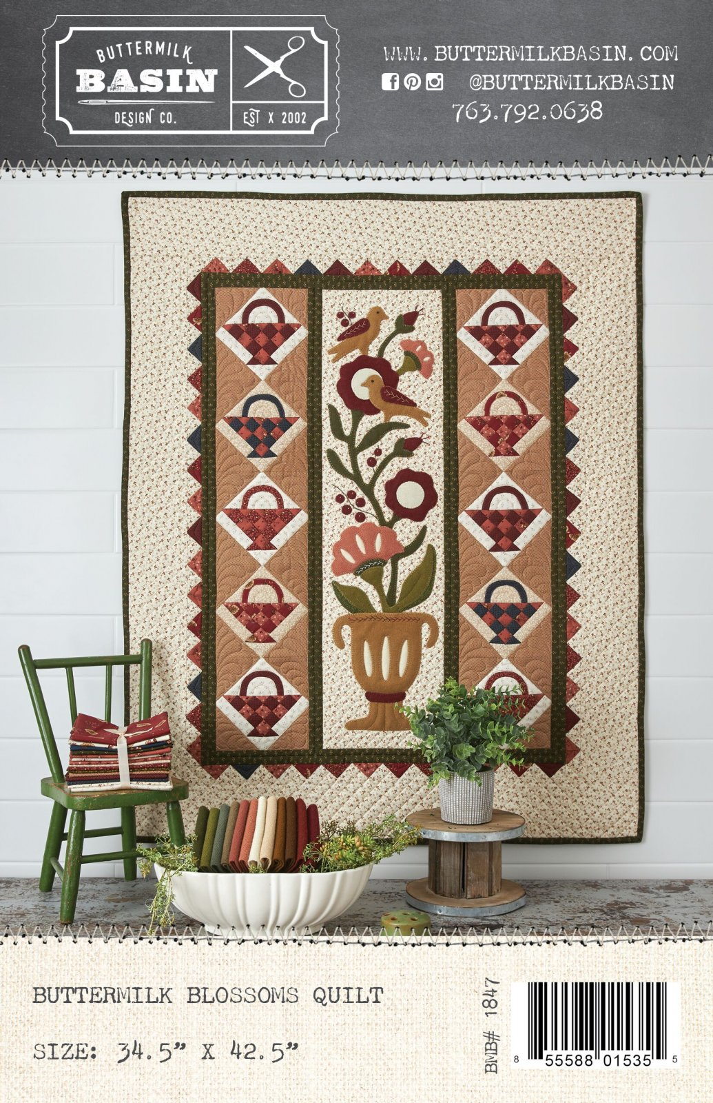 Buttermilk Blossoms Quilt *Kit & Pattern