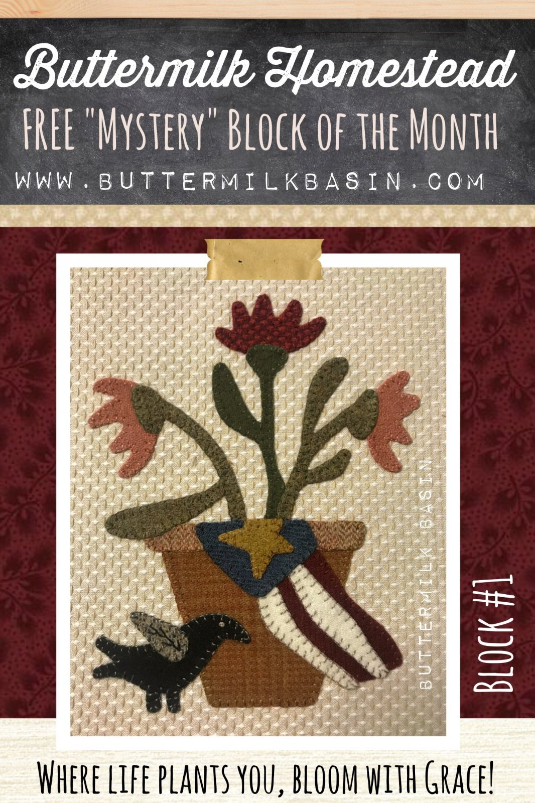 Buttermilk Homstead BLOCK #1 * WOOL & Fabric KIT & Pattern