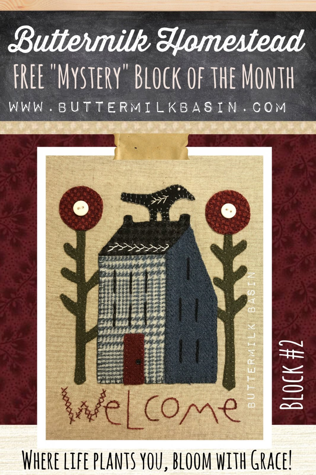Buttermilk Homstead BLOCK #2 * WOOL & Fabric KIT & Pattern