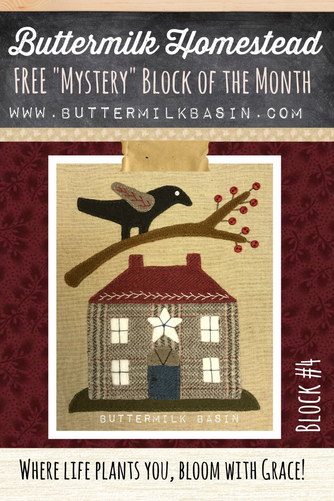 Buttermilk Homstead BLOCK #4 * WOOL & Fabric KIT & Pattern