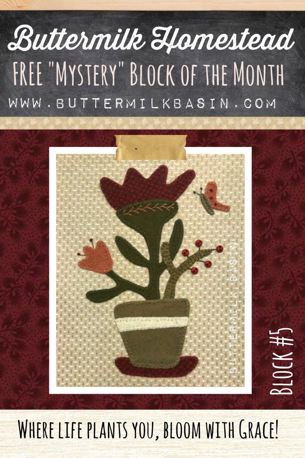 Buttermilk Homstead BLOCK #5 * WOOL & Fabric KIT & Pattern