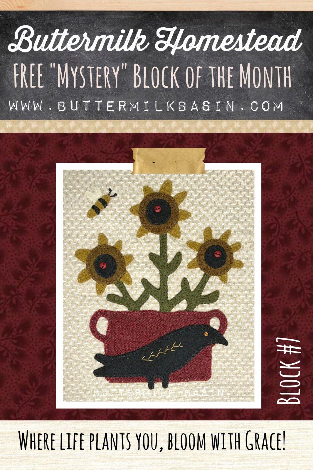 Buttermilk Homstead BLOCK #7 * WOOL & Fabric KIT & Pattern