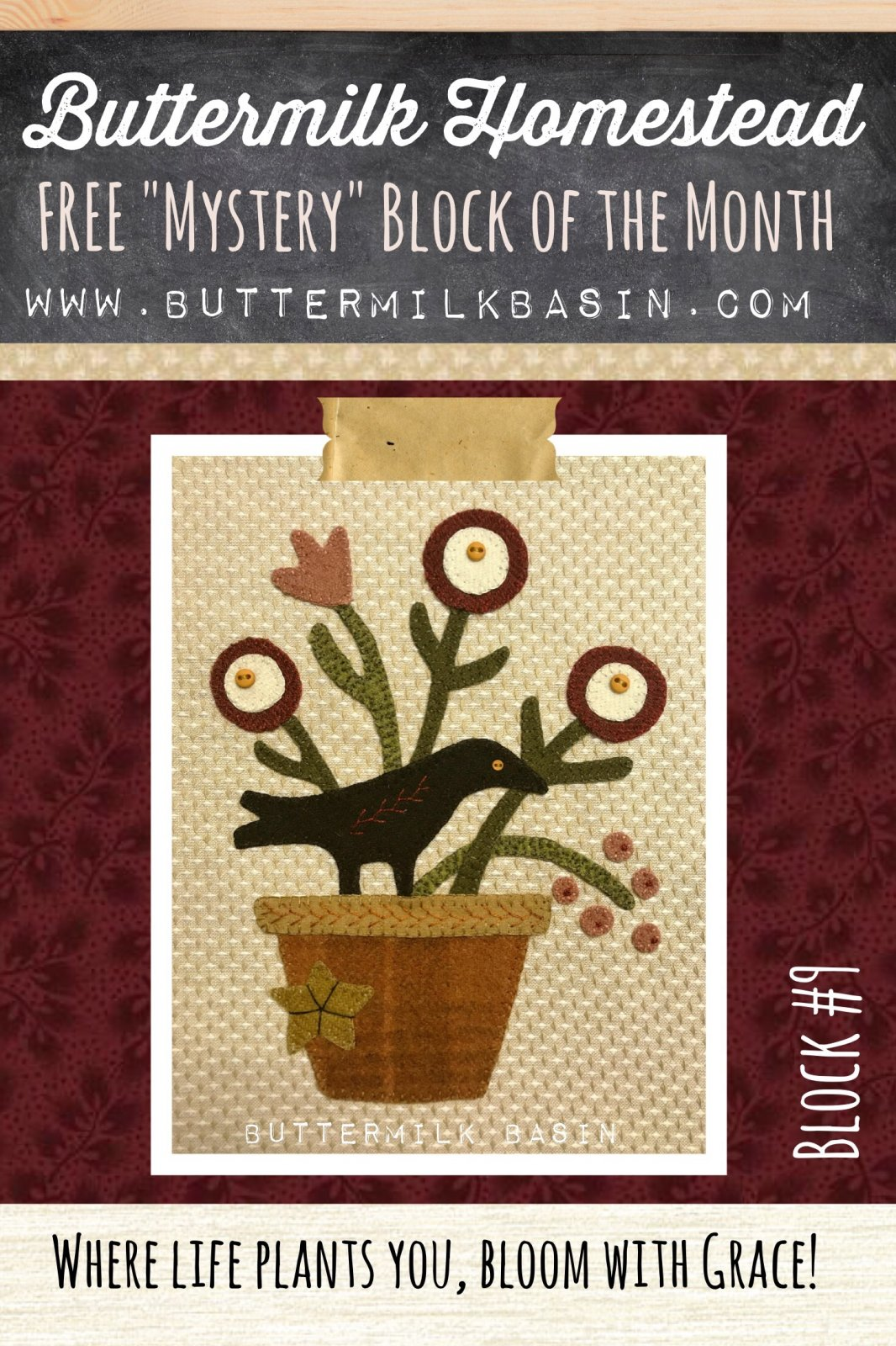 Buttermilk Homstead BLOCK #9 * WOOL & Fabric KIT & Pattern