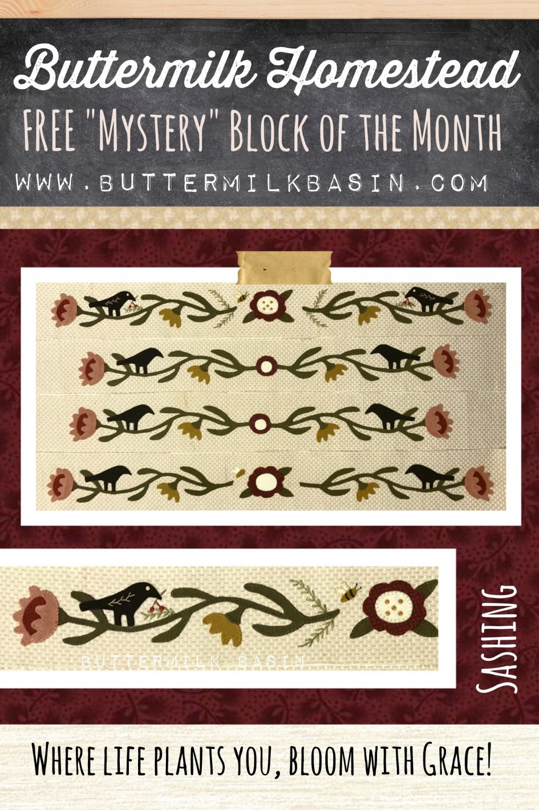 Buttermilk Homstead Sashing (4 Sides) WOOL & Fabric KIT & Pattern