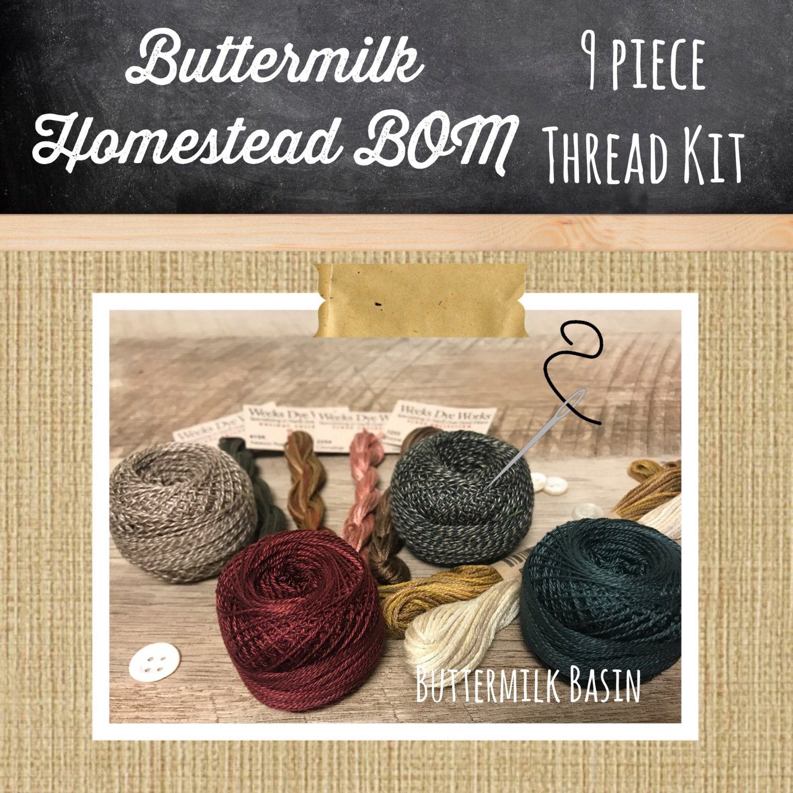 Floss KIT * Buttermilk Homestead 2018 Mystery Block of the Month