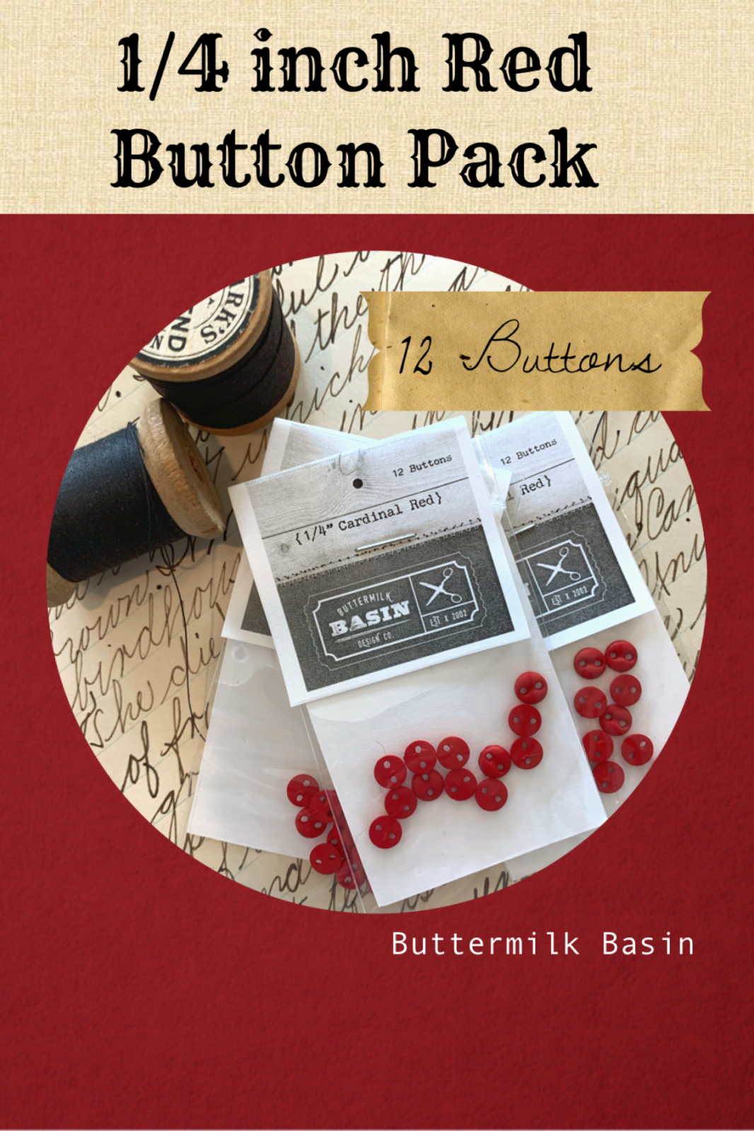 Red 1/4 Inch Button Pack