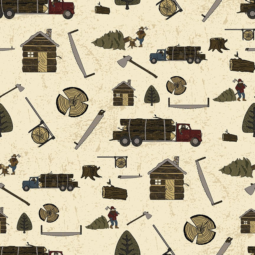 Cream Lumberjack Aaron Main - C8700 * 1/2 yard