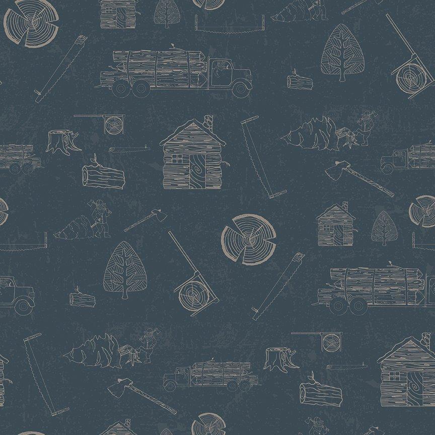Blue Lumberjack Aaron Linework - C8702 * 1/2 yard