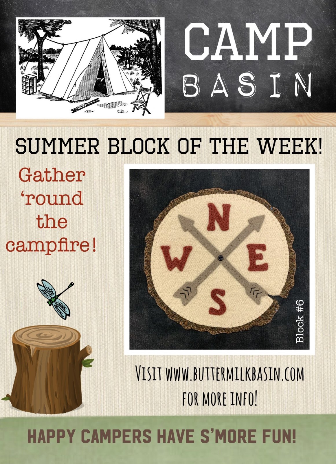 CAMP BASIN Summer Block of the Week! * Block 6 Kit & Pattern