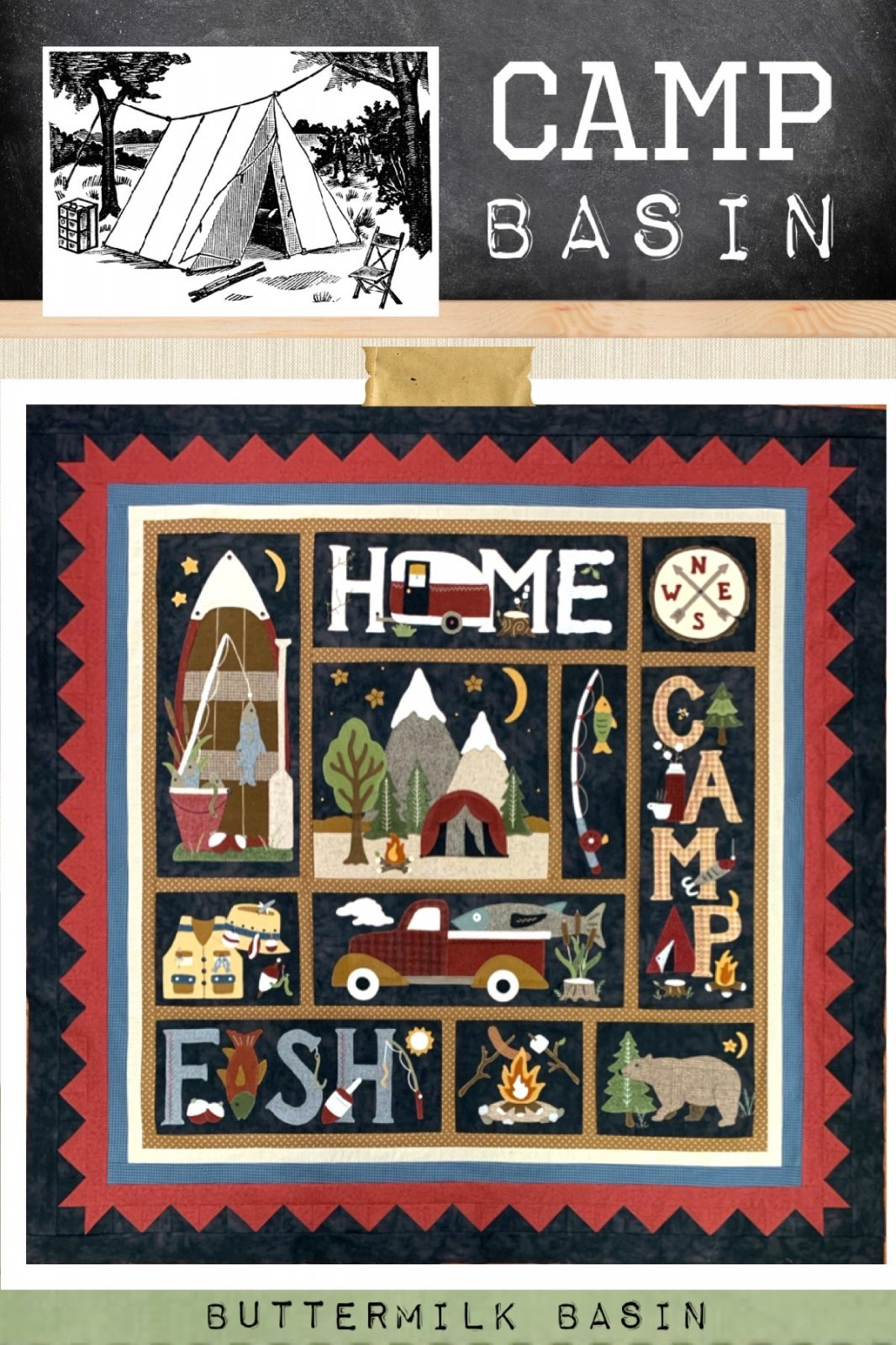 CAMP BASIN Summer Block of the Week! * Quilt Finishing Kit & Pattern
