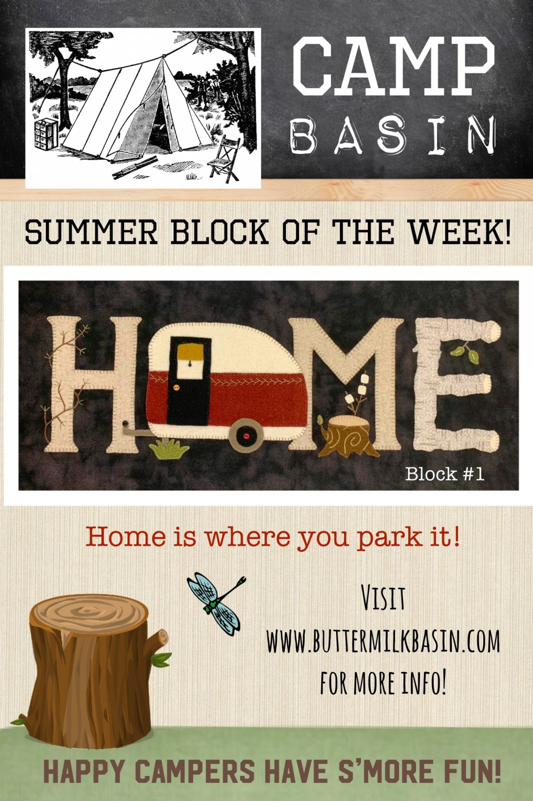 CAMP BASIN Summer Block of the Week! * Block 1 Kit & Pattern