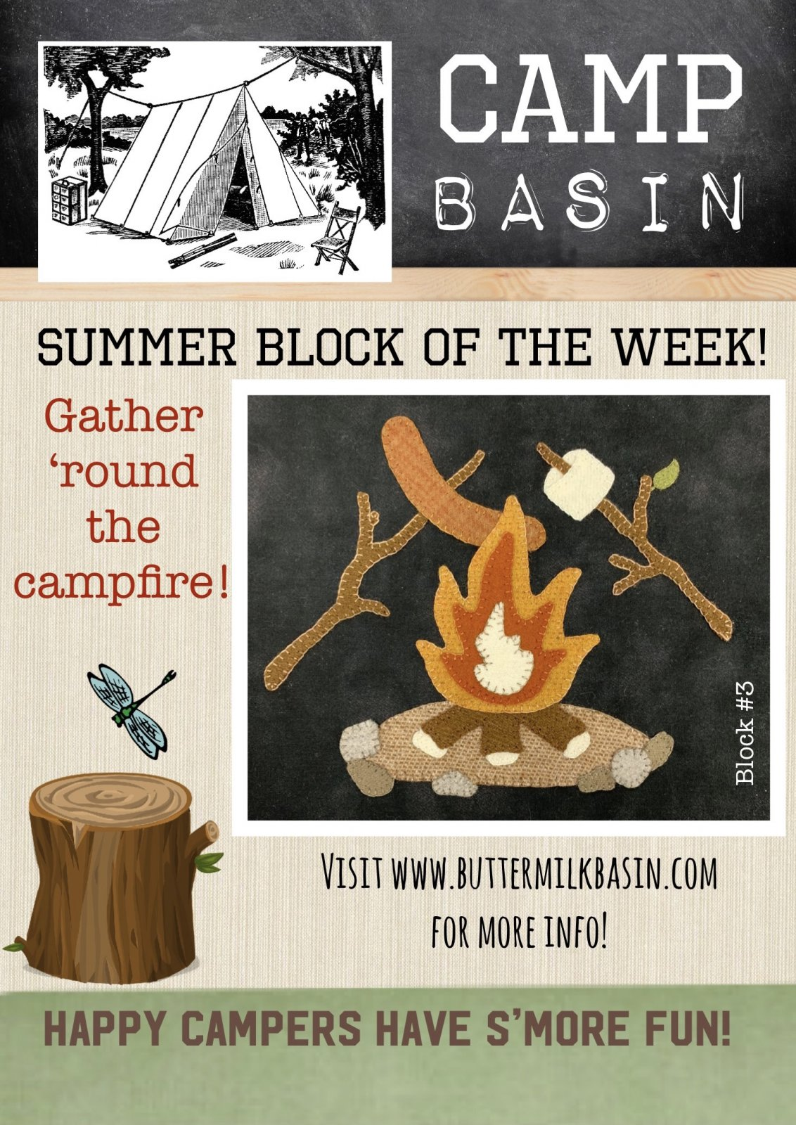 CAMP BASIN Summer Block of the Week! * Block 3 Kit & Pattern