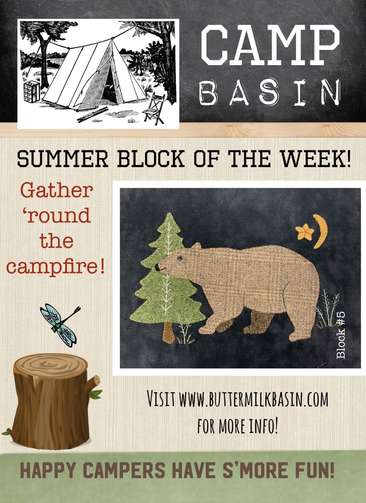 CAMP BASIN Summer Block of the Week! * Block 5 Kit & Pattern