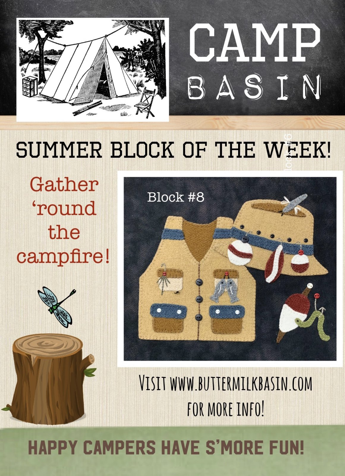 CAMP BASIN Summer Block of the Week! * Block 8 Kit & Pattern