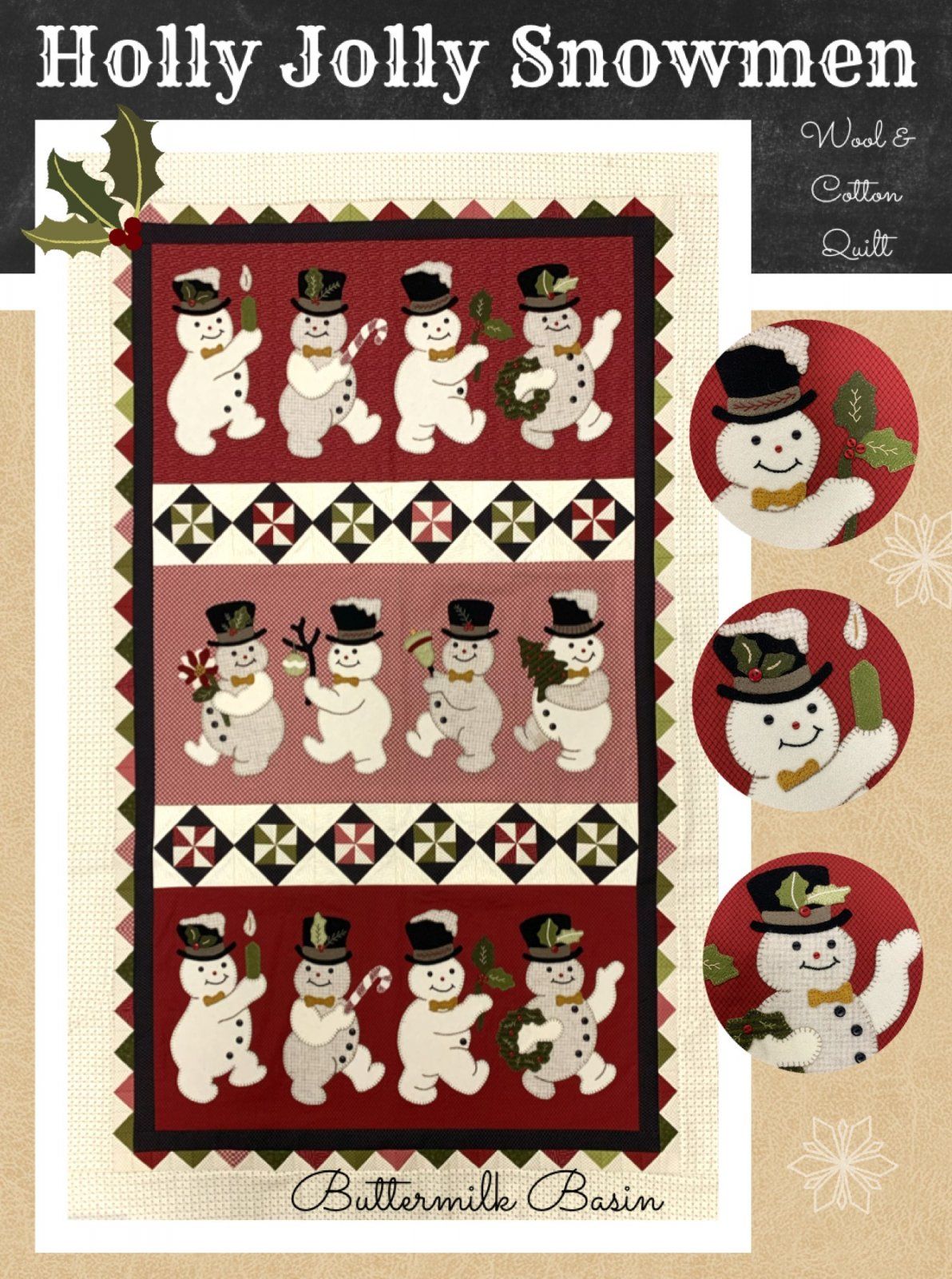 Holly Jolly Snowmen Wool & Cotton Quilt * KIT & Pattern