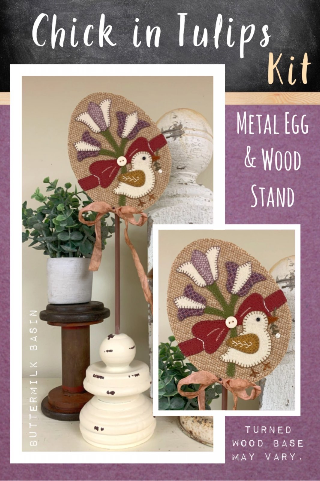 Chick in Tulips Egg * Kit, Pattern, Metal Egg & Wood Stand