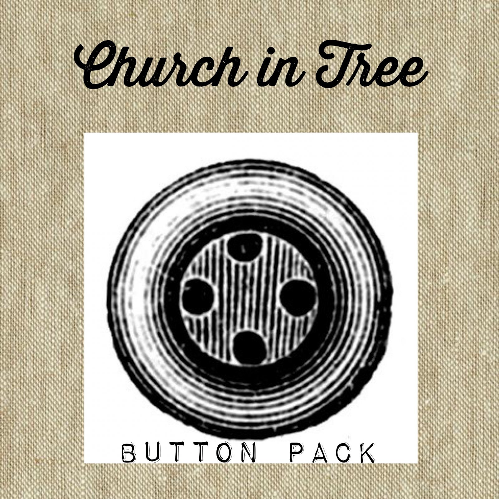 Vintage Church in Tree * Button Pack