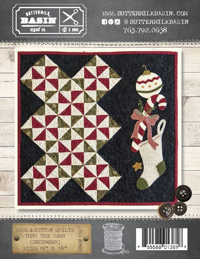 Wool & Cotton Quilts thru the Year * December WOOL KIT & Pattern