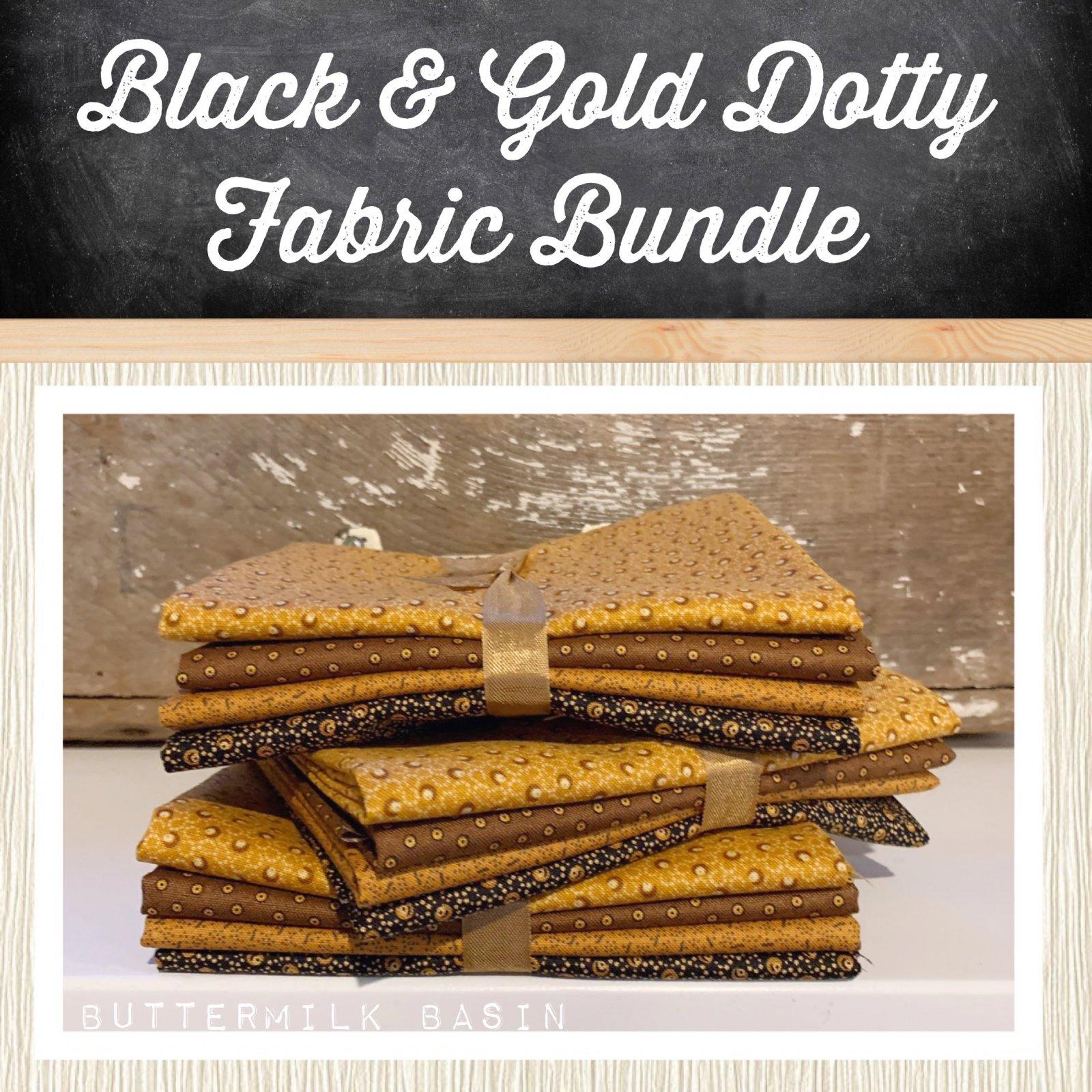 Black & Gold Dotty Fabric Bundle