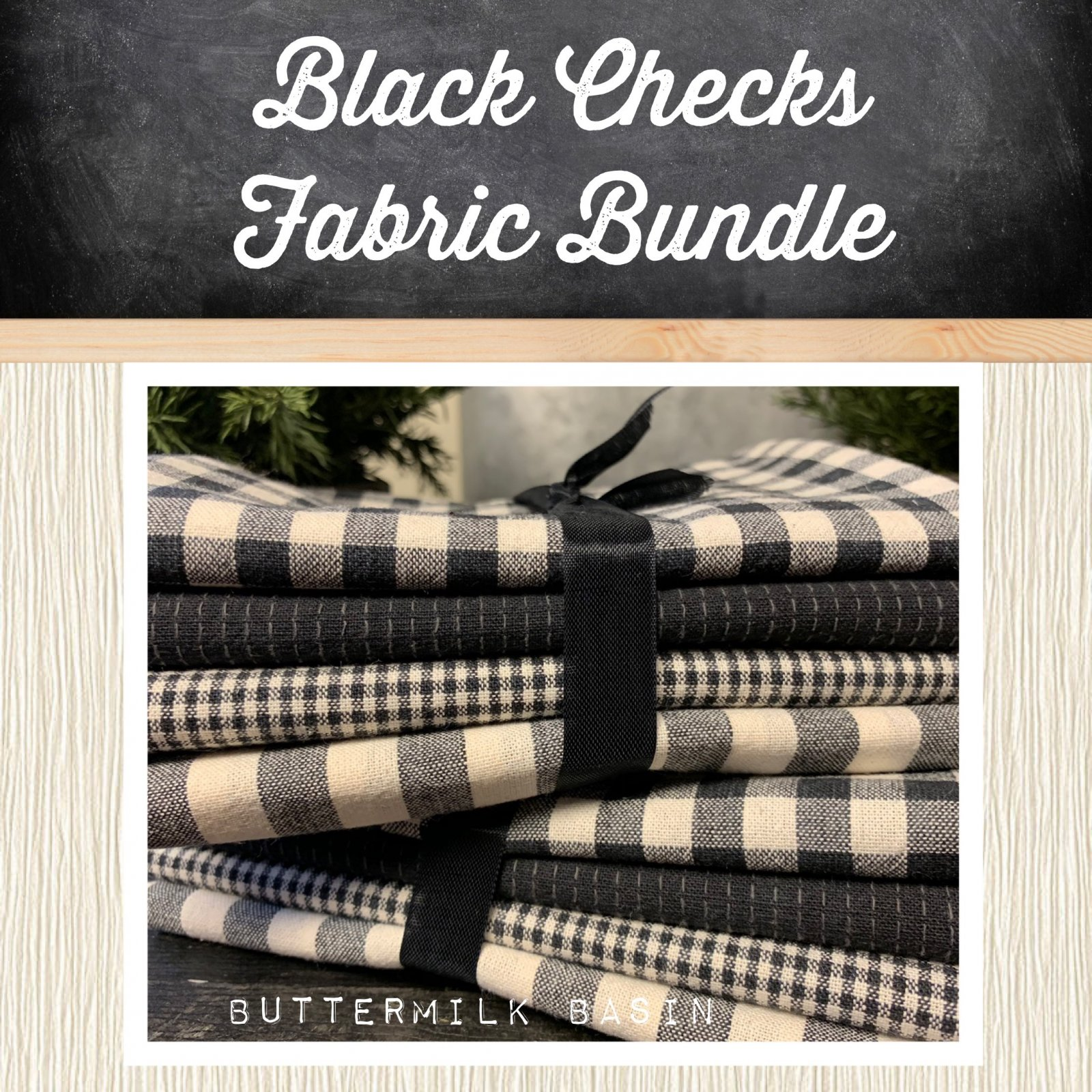 Black Checks Fabric Bundle (Japanese Fabrics)