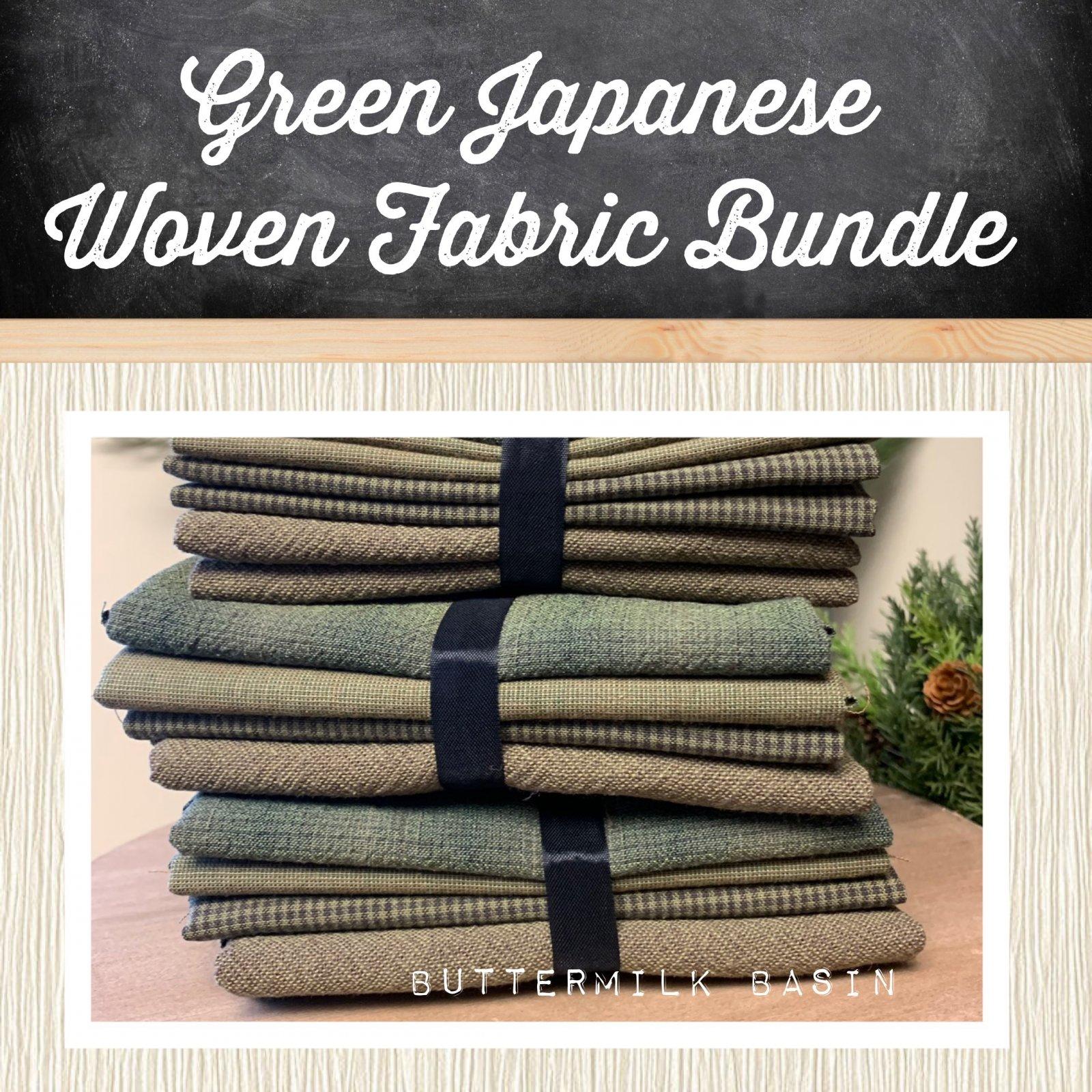 Green Japanese Woven Fabric Bundle