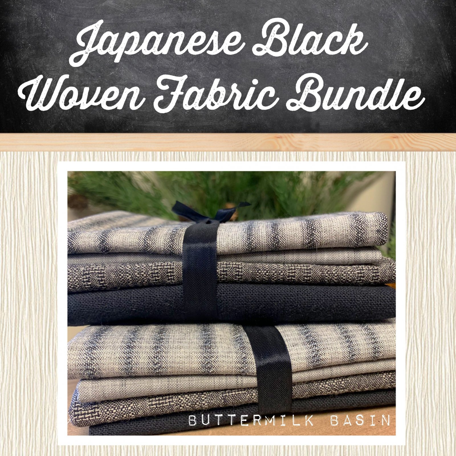 Japanese Black Woven Fabric Bundle