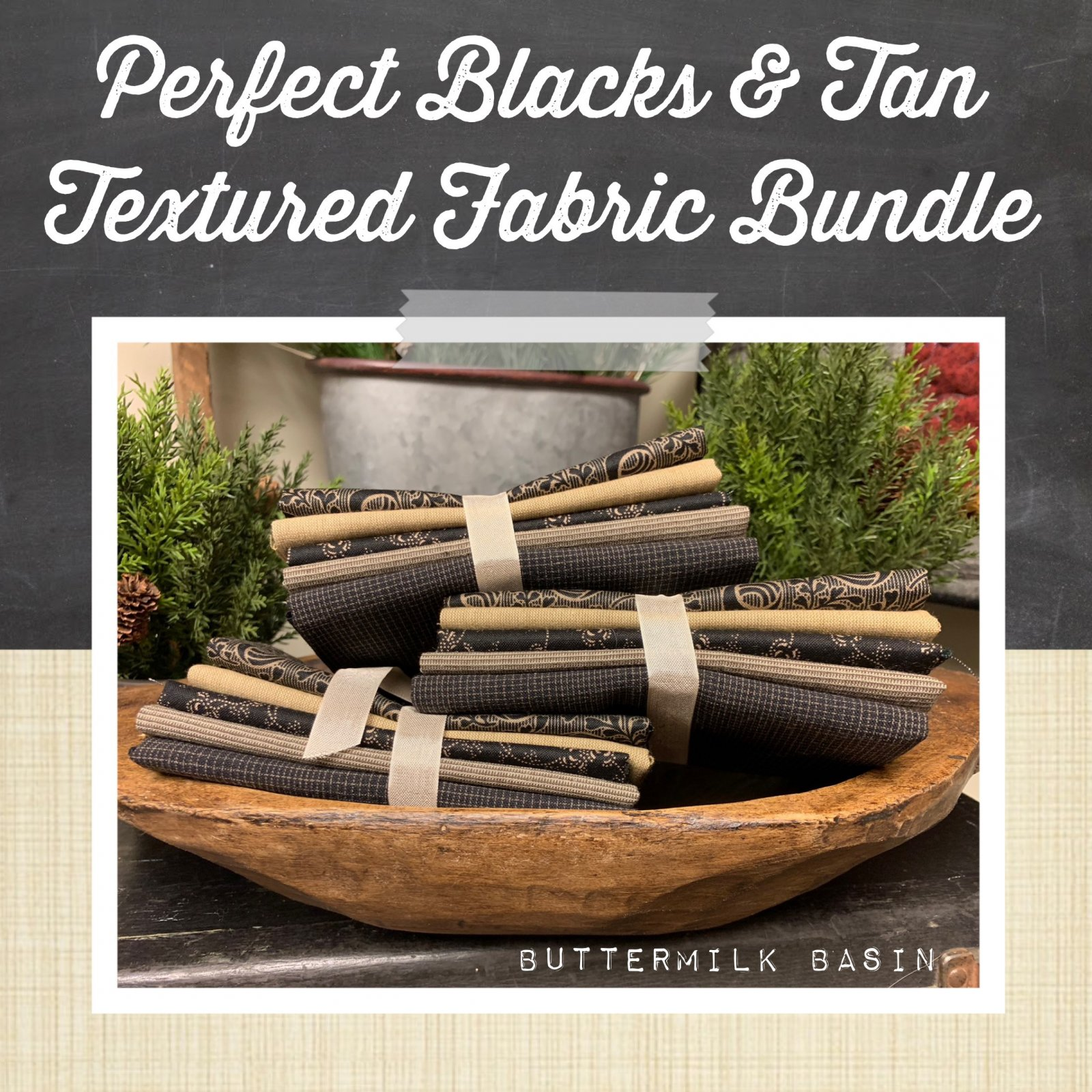 Perfect Blacks & Tans Textured Fabric Bundle