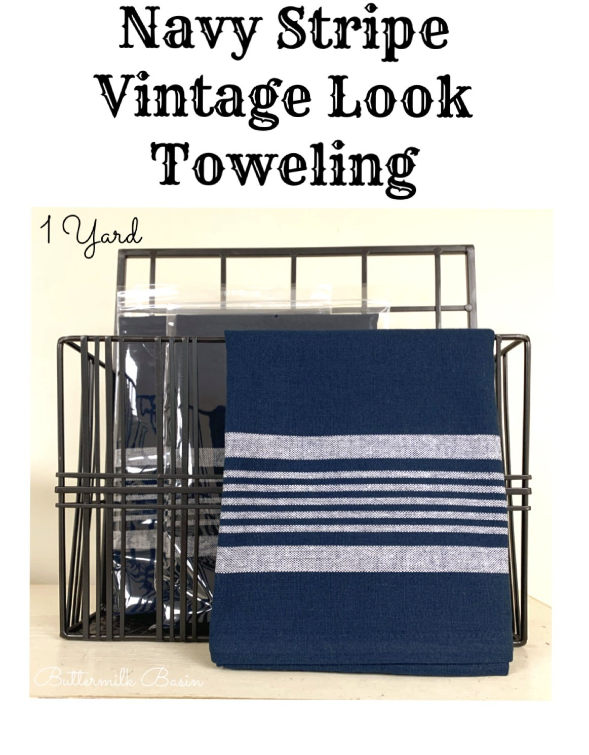 Navy Stripe Vintage Look Toweling
