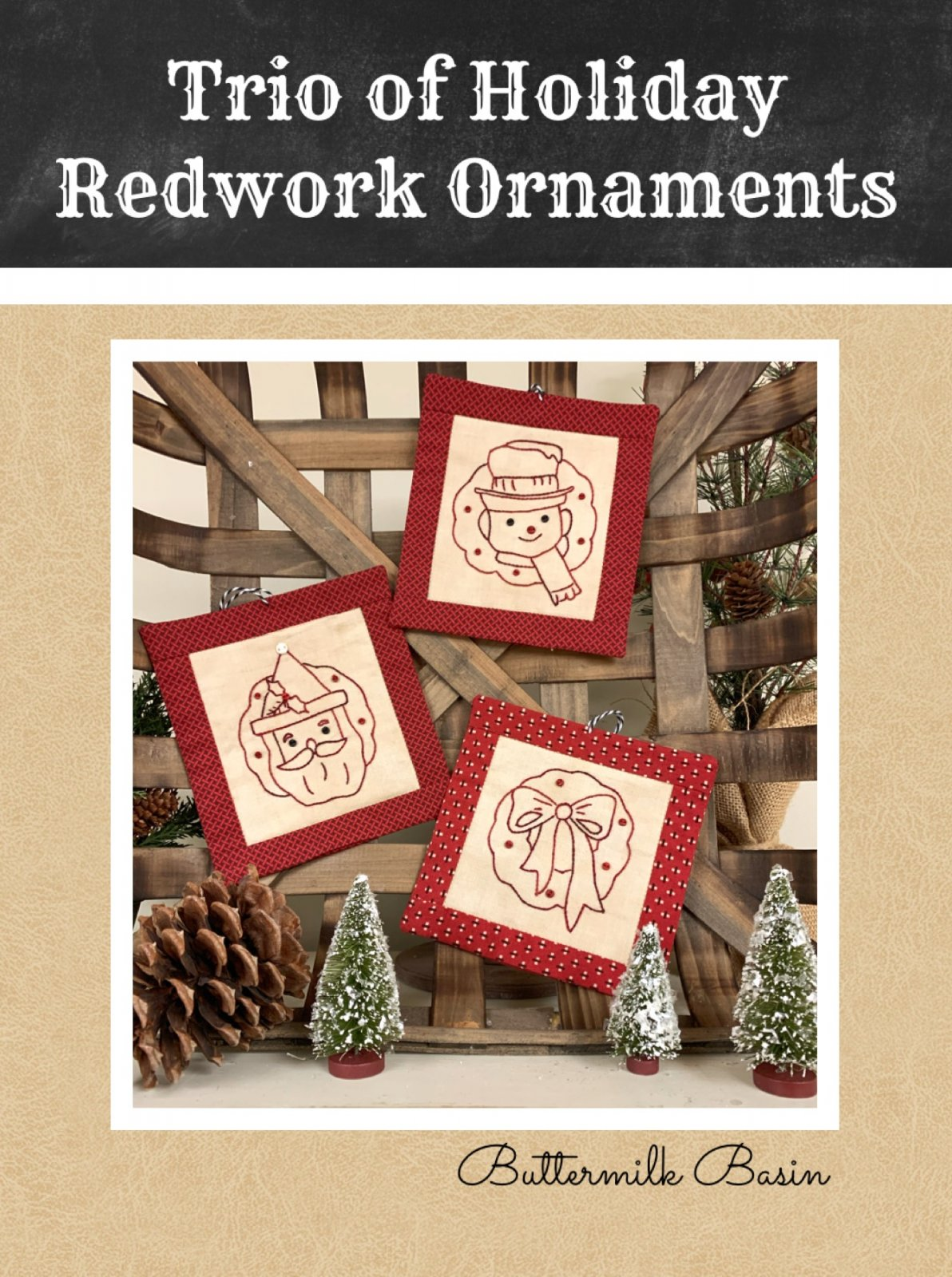 Trio of Holiday Redwork Ornaments