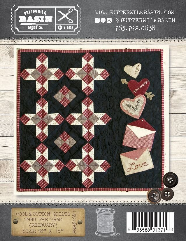 Wool & Cotton Quilts thru the Year * February WOOL KIT & Pattern