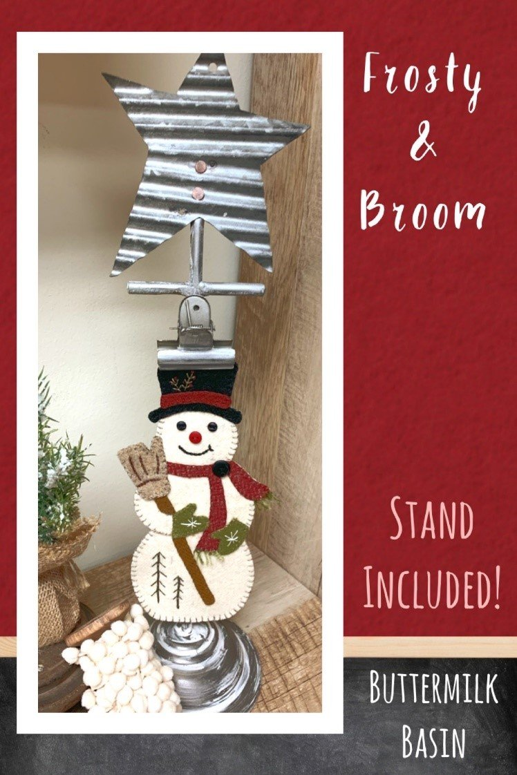 Frosty & Broom on Metal Star Stand *Kit, Pattern & Stand