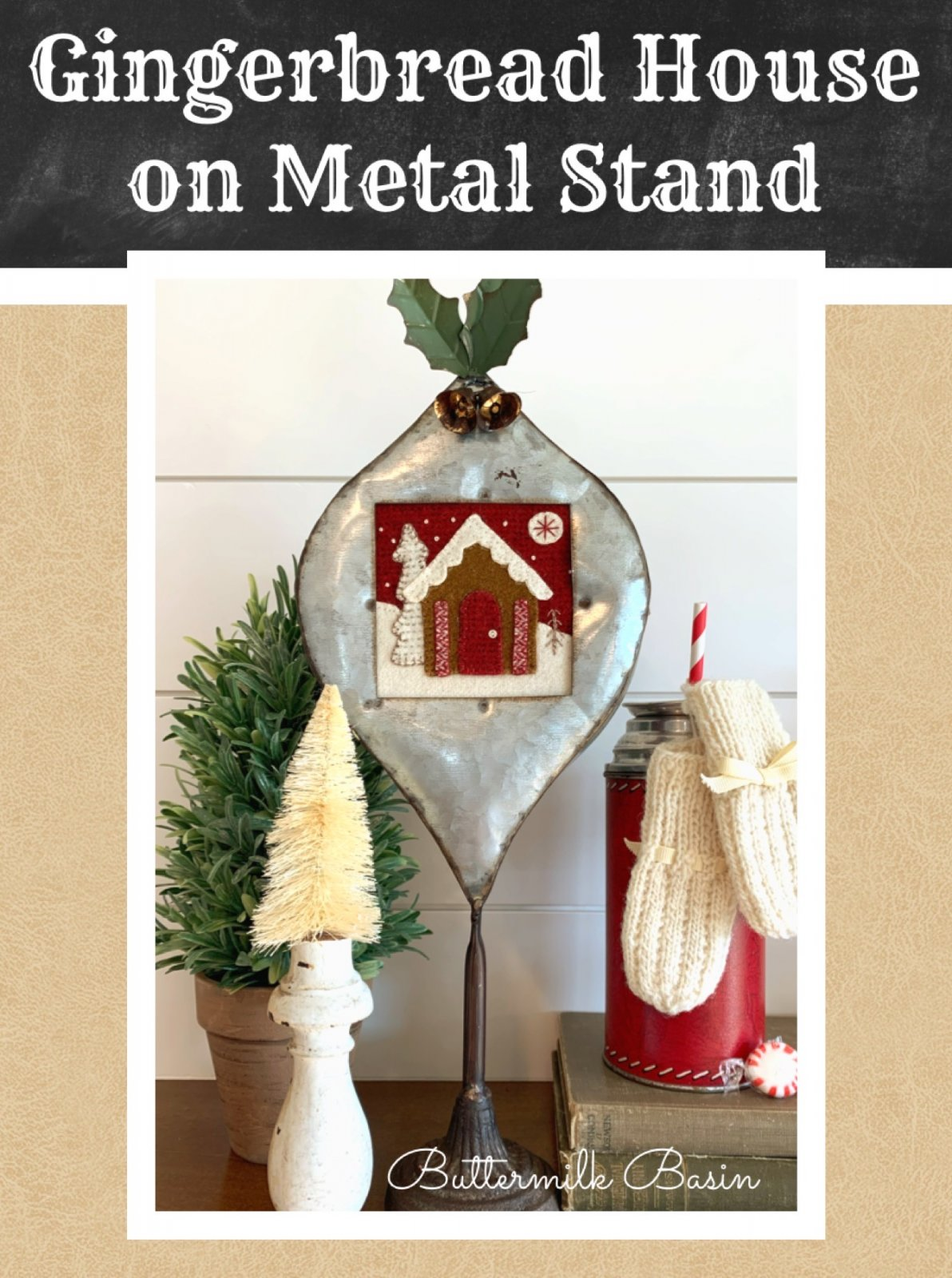 Gingerbread House on Metal Stand * Kit, Pattern & Metal Stand