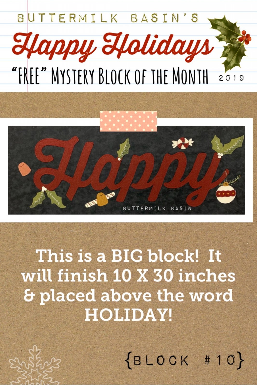 Happy Holidays Mystery Block #10 * KIT & Pattern