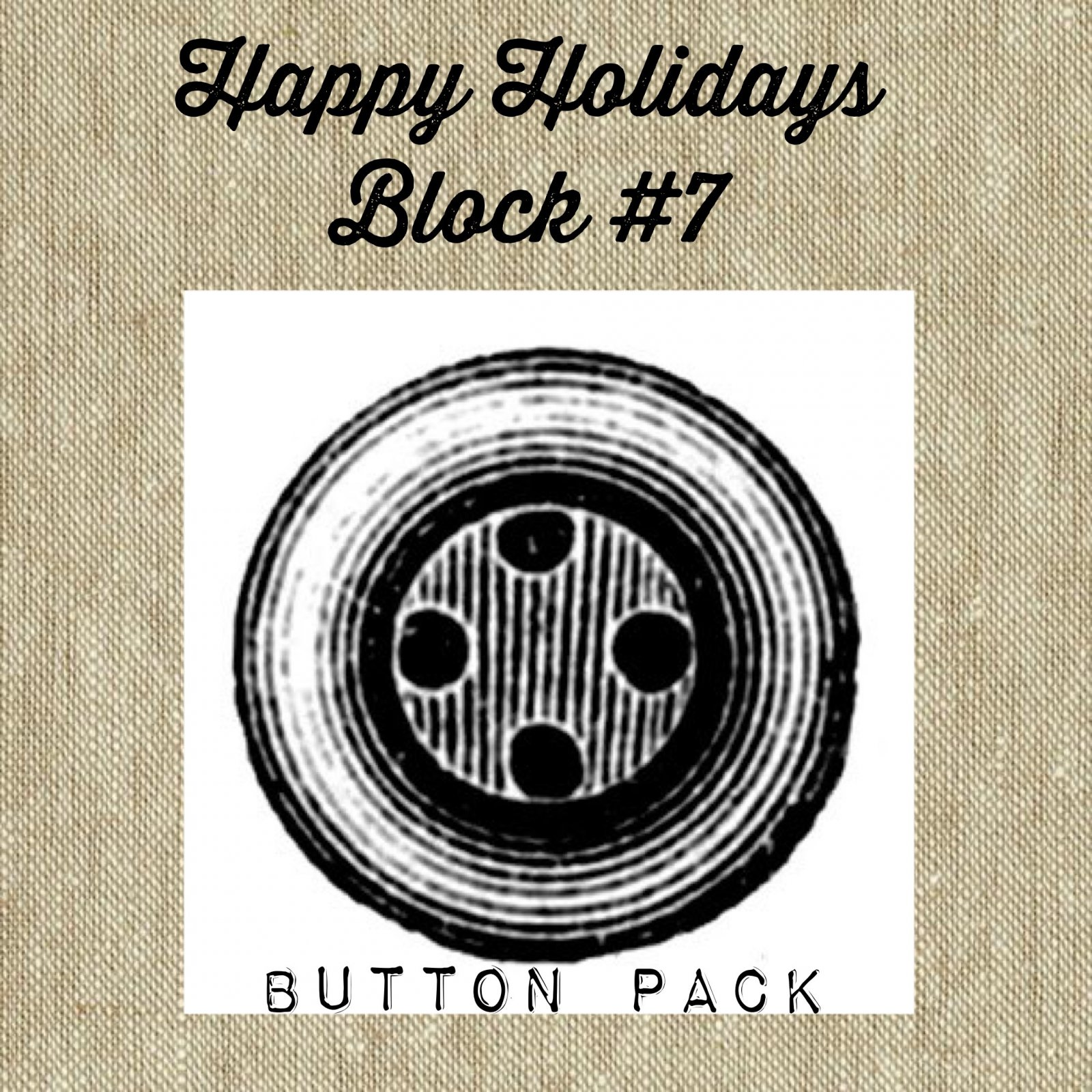 Happy Holidays Mystery Block #7 Letter Y * Button Pack
