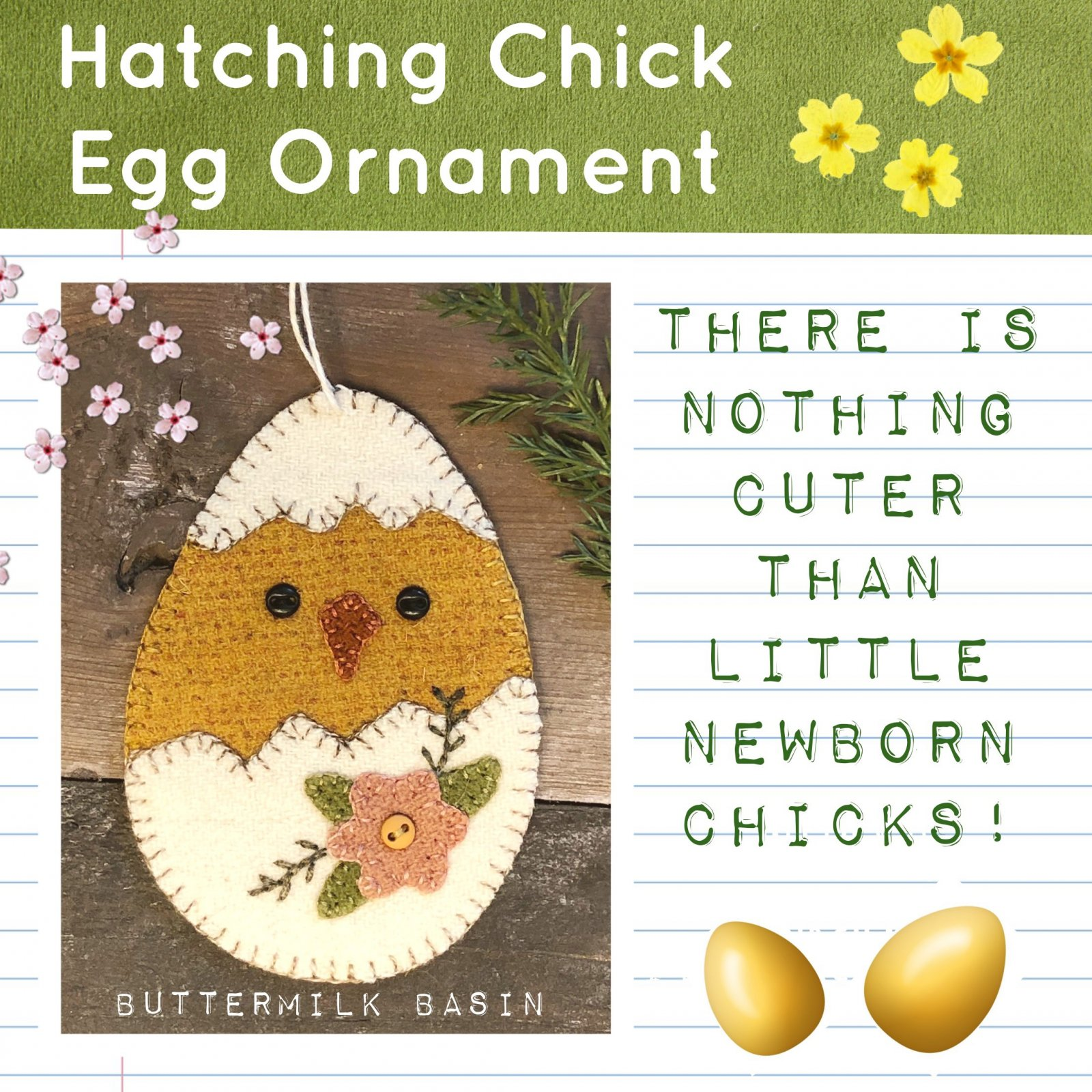 Hatching Chick Egg Ornament * Pattern & Kit