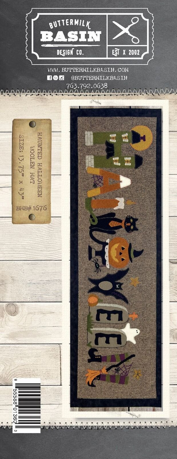 Haunted Halloween Woolen Mat Pattern & Wool Kit