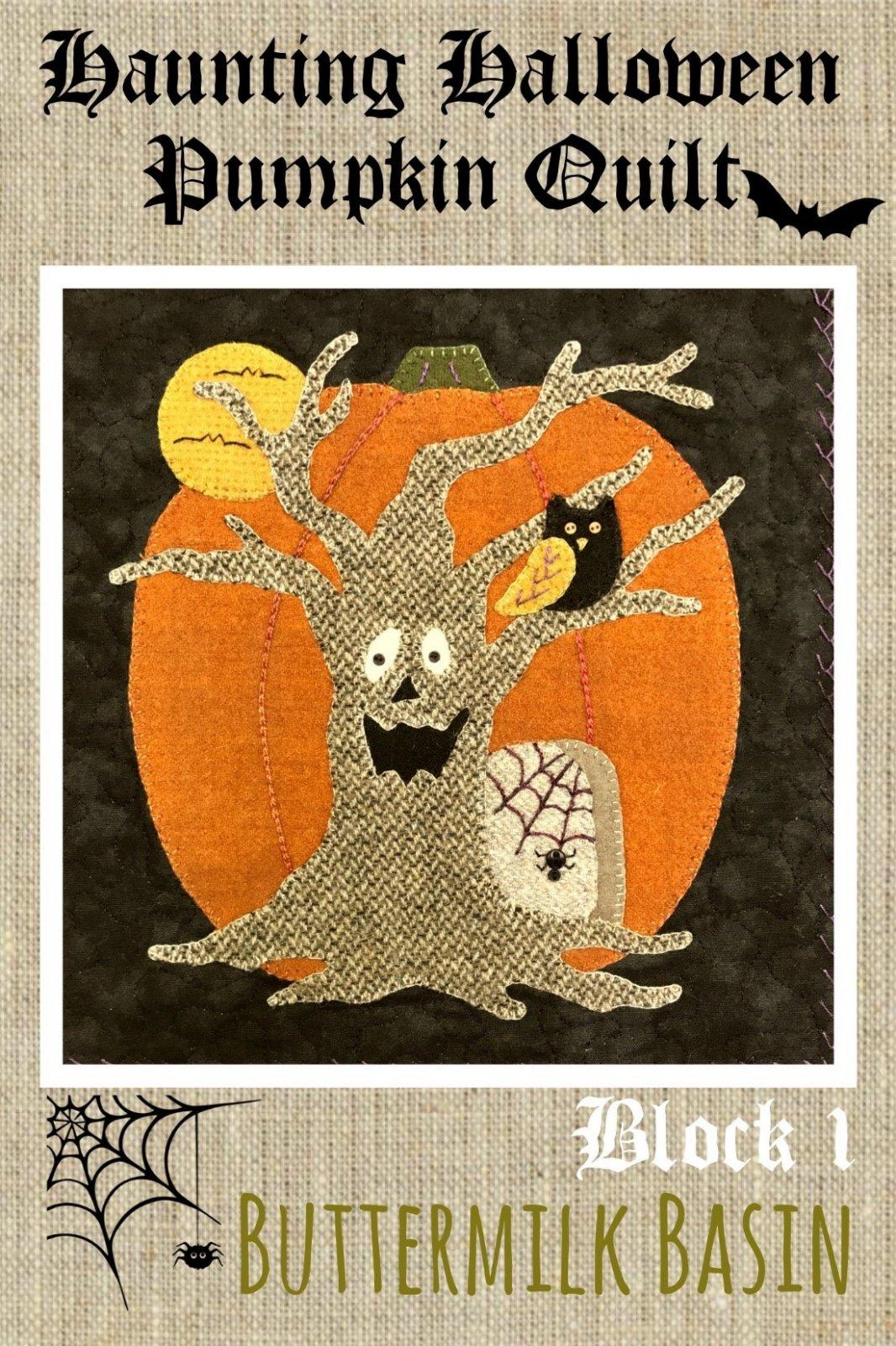 Haunting Halloween Pumpkin Quilt Block #1