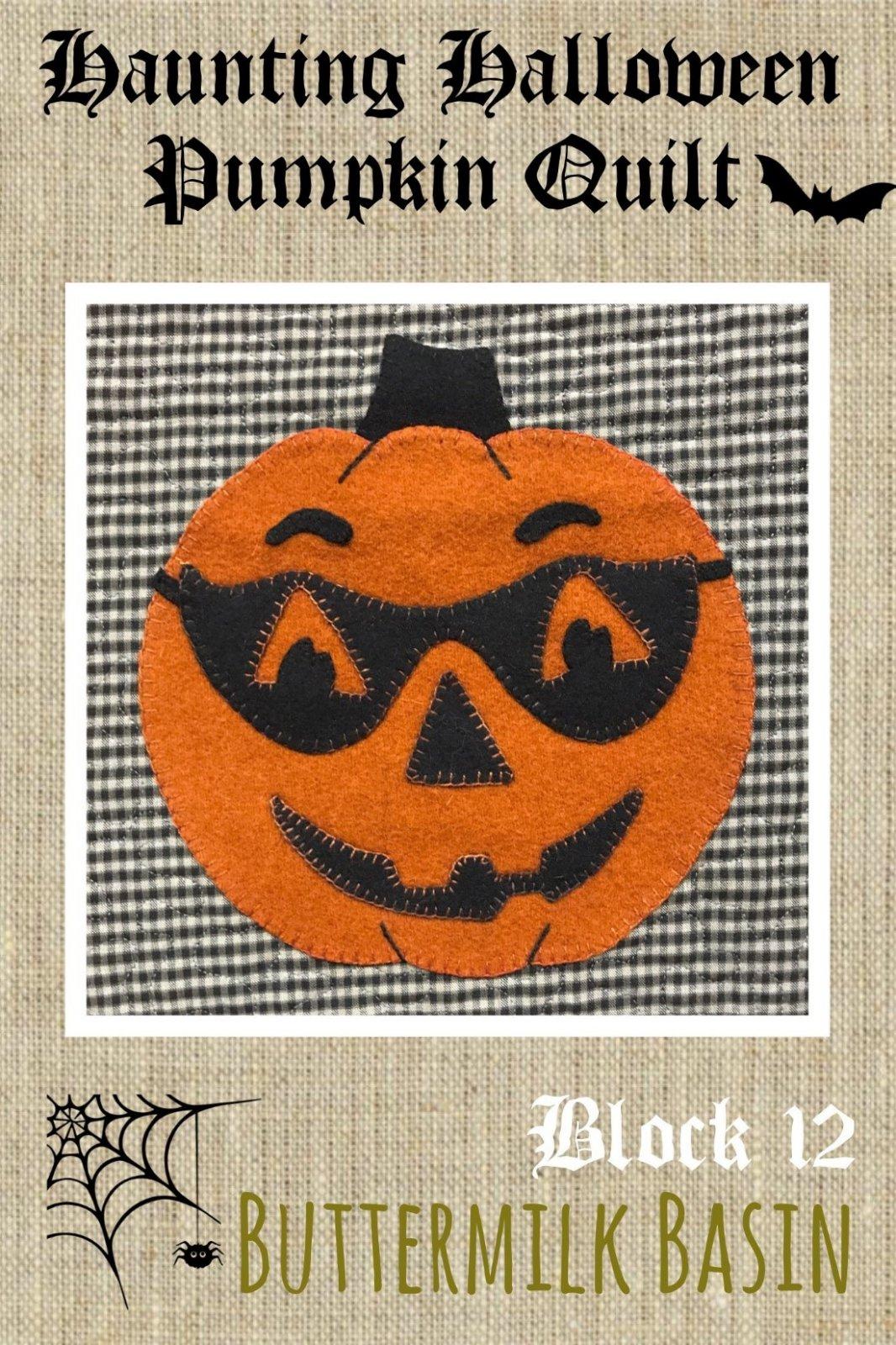 Haunting Halloween Pumpkin Quilt Block #12