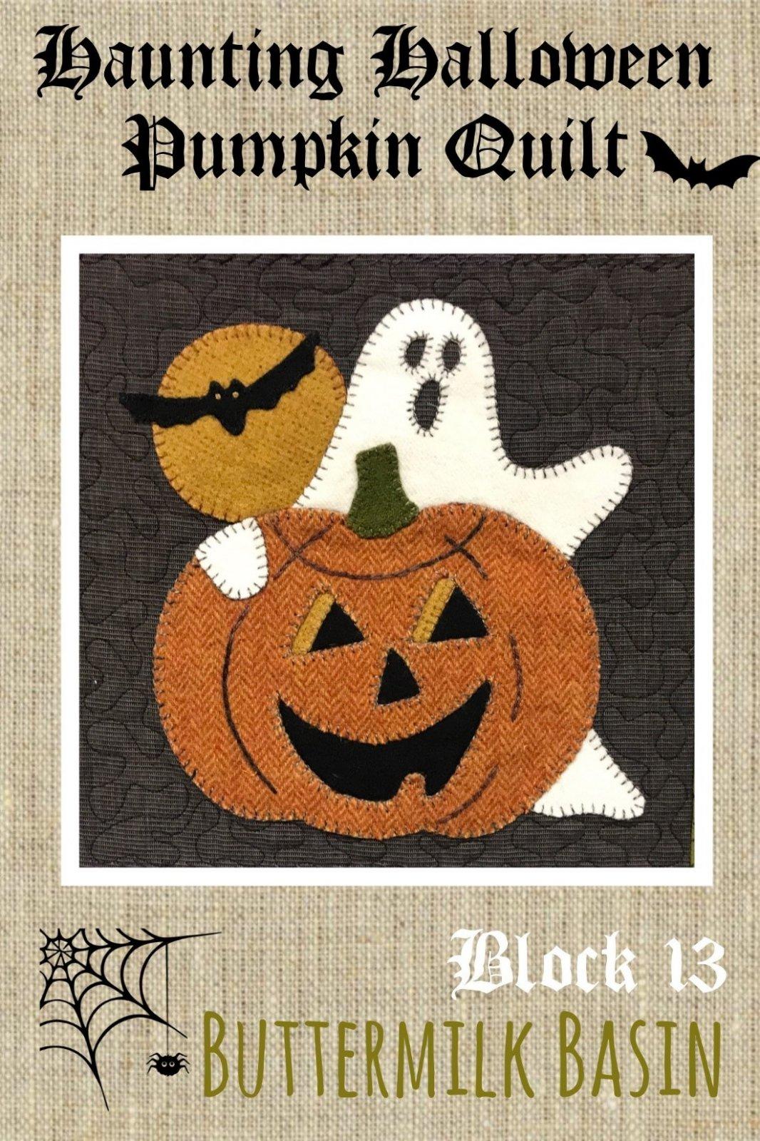 Haunting Halloween Pumpkin Quilt Block #13