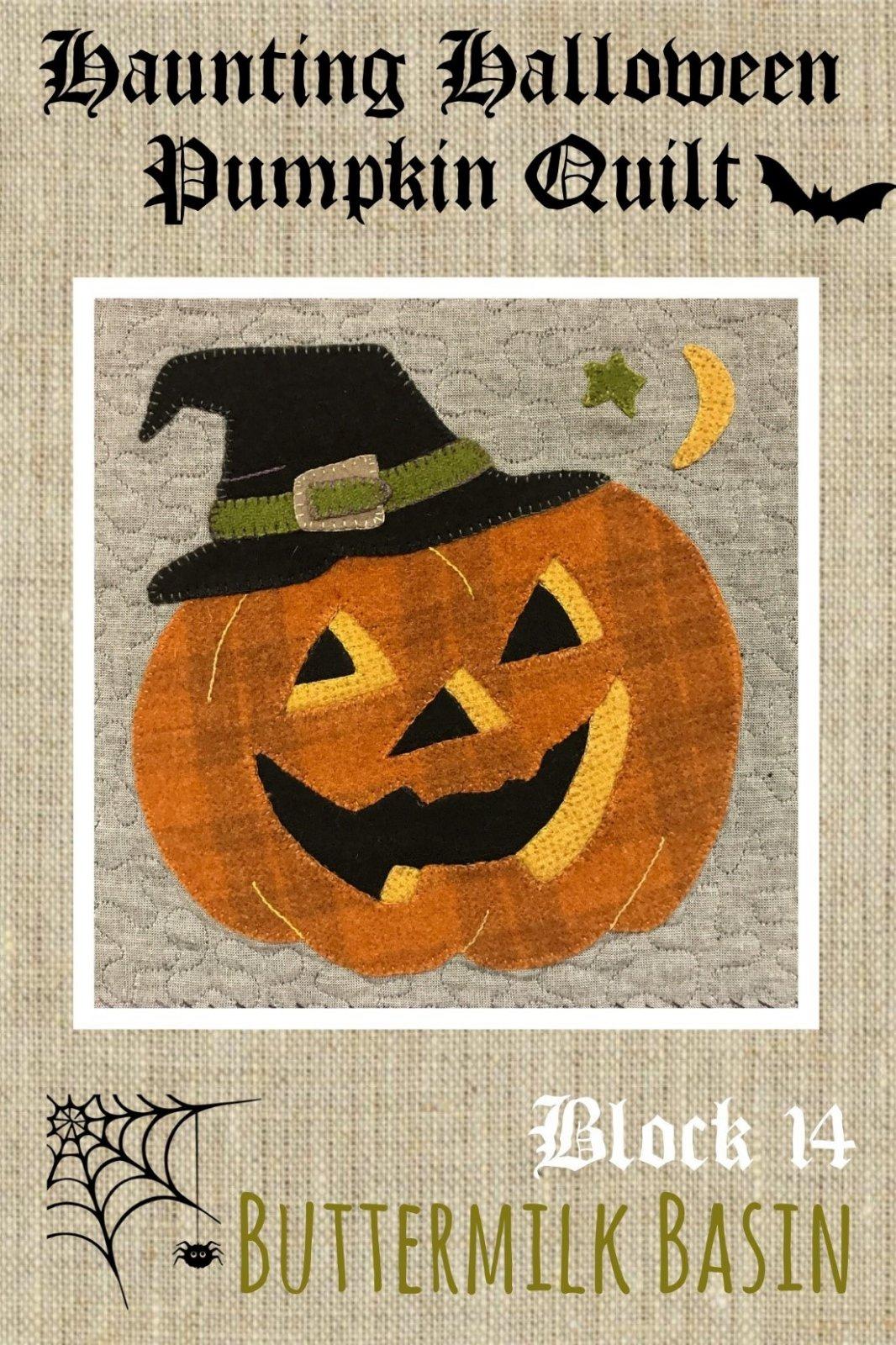 Haunting Halloween Pumpkin Quilt Block #14