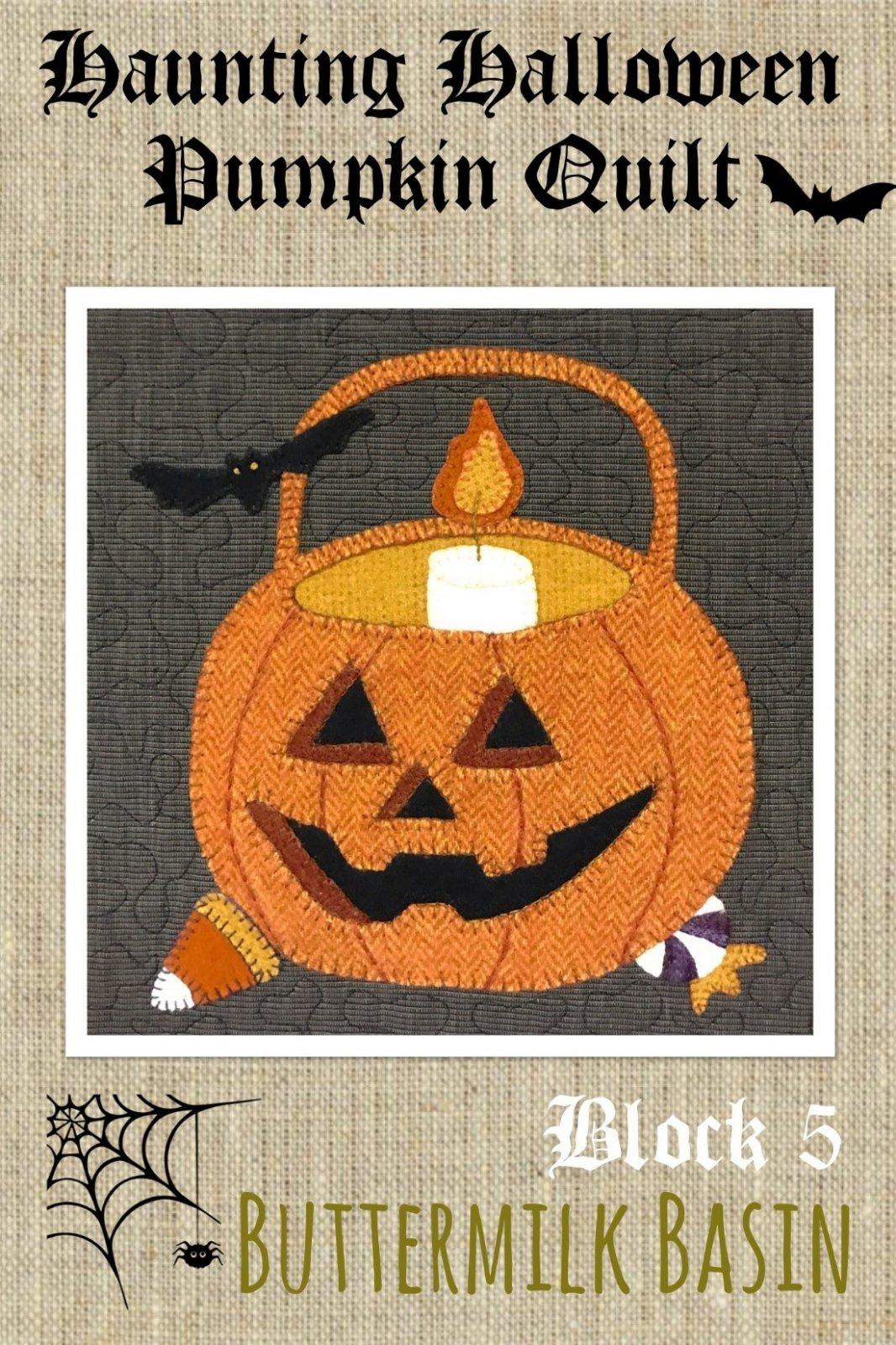 Haunting Halloween Pumpkin Quilt Block #5