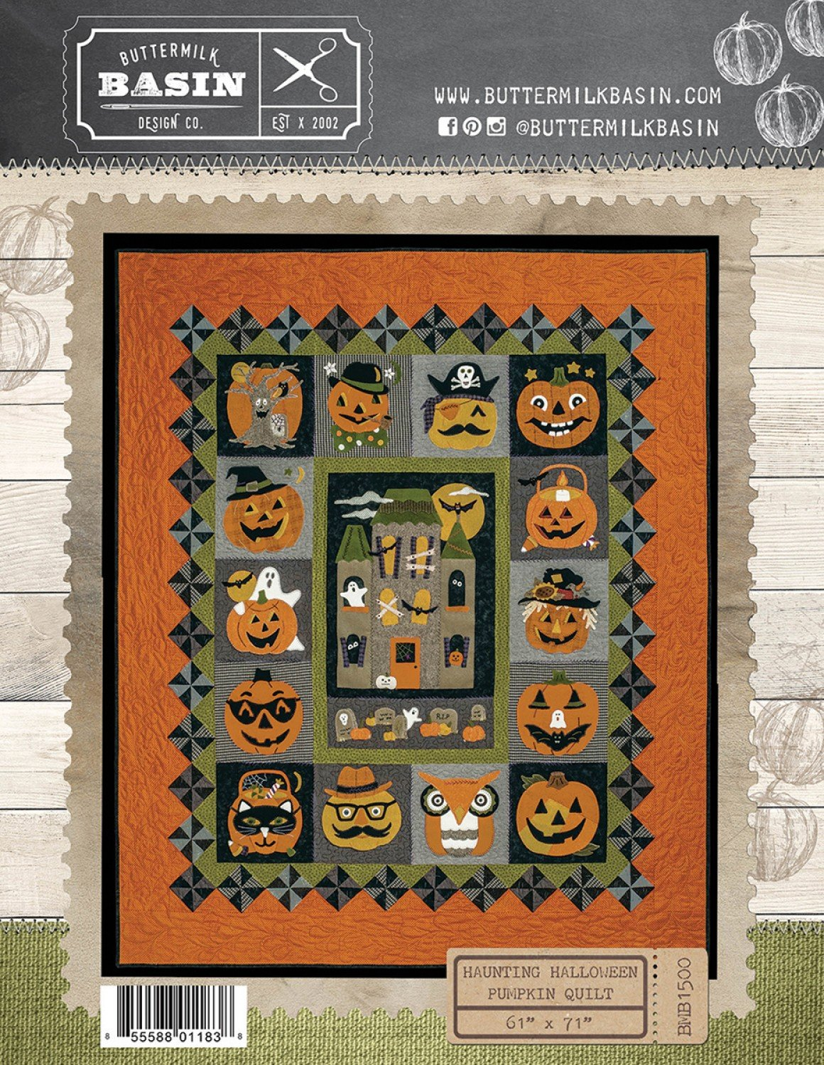 Haunting Halloween Pumpkin Quilt*Center Block & Finishing Pattern