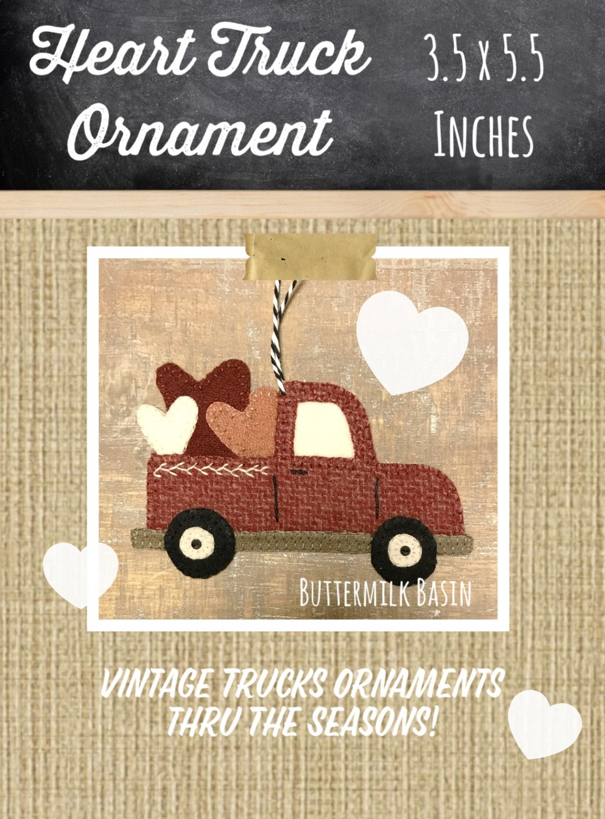 Vintage Truck & Heart {February} Ornament * KIT & Pattern