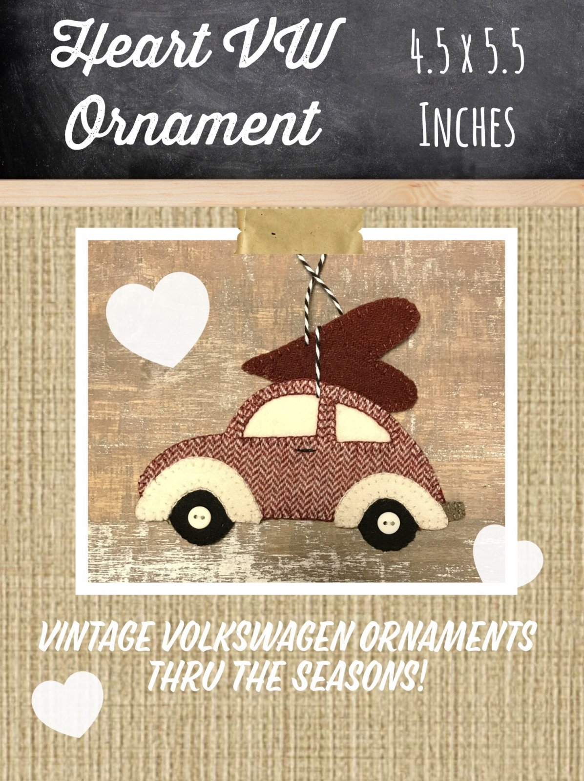 Heart VW {February} Ornament KIT & Pattern
