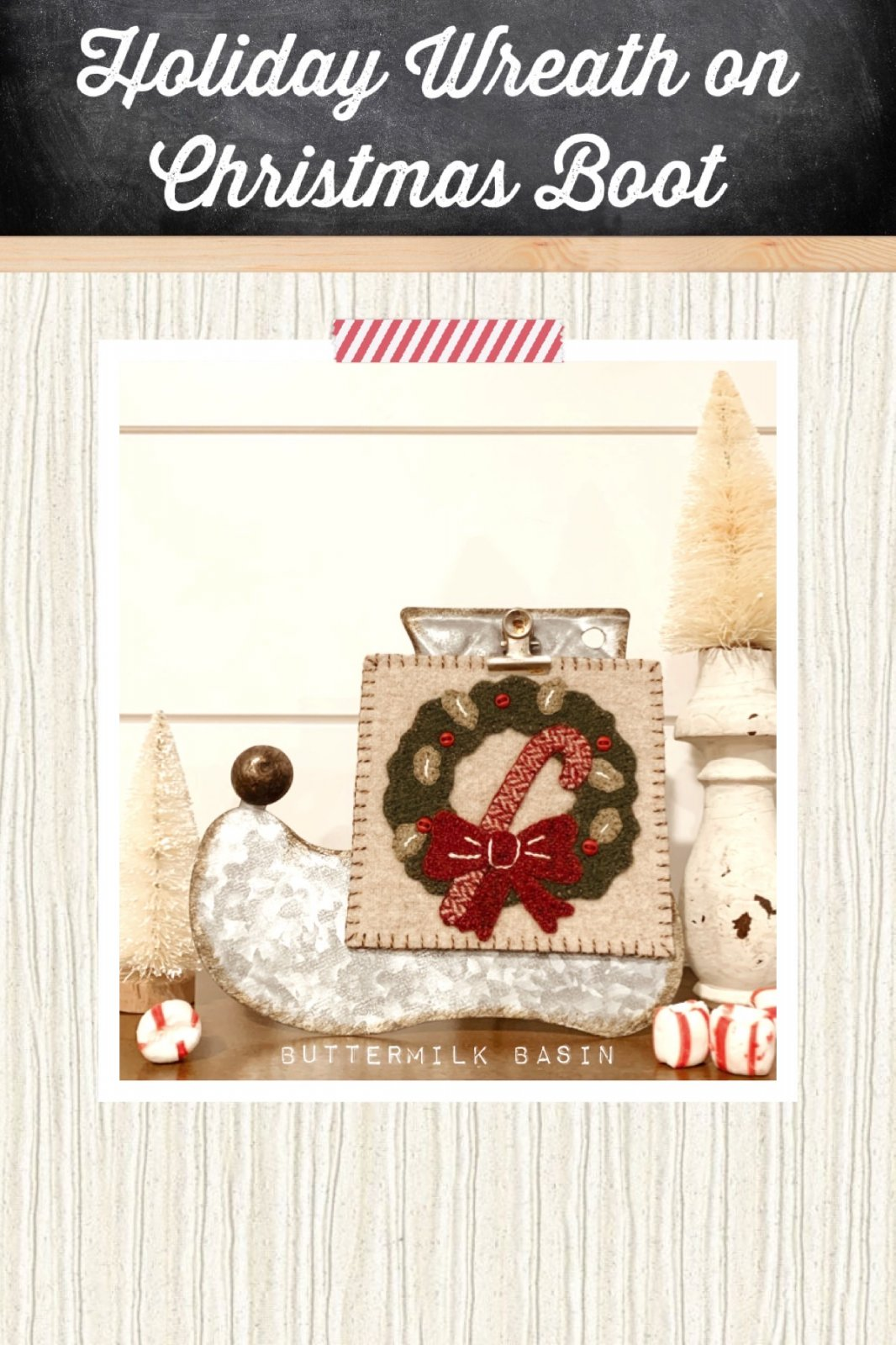 Holiday Wreath on Christmas Boot *Kit, Pattern & Metal Stand