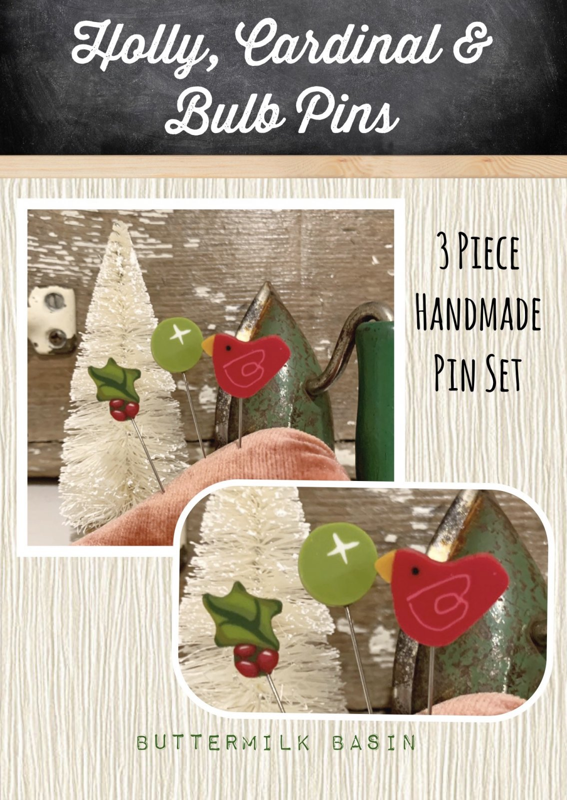 Holly, Cardinal & Bulb Pins