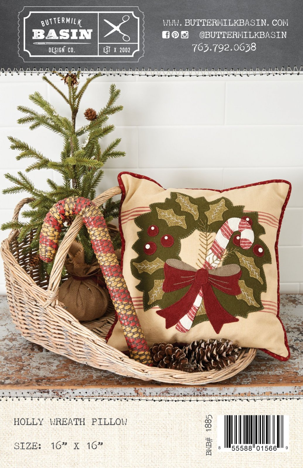 Holly Wreath Pillow * KIT & Pattern