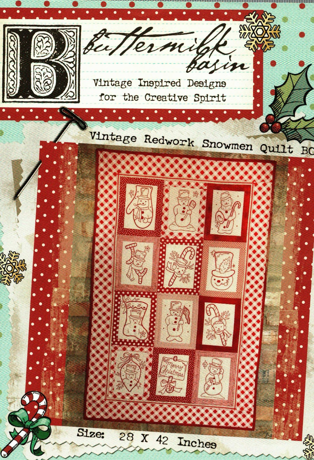 Vintage Redwork Snowman Quilt BOM * Pattern